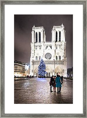 Shining Star - Notre Dame De Paris At Night Framed Print by Mark E Tisdale