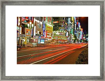 Shinjuku Neon Strikes Framed Print