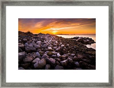 Shinnecock Bay Rock Sunset Framed Print
