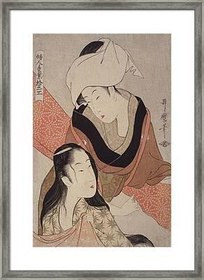 Shinshi-bari = Cloth-stretcher, Kitagawa Framed Print by Artokoloro