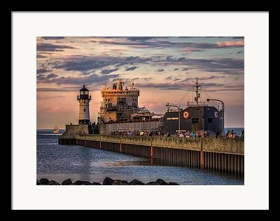 Duluth Canal Park Canal Park Lighthouse Lighthouse Lake Superior Minnesota Framed Prints