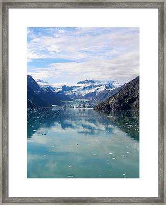 Ship Among Giants In Alaska Framed Print