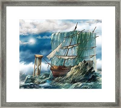 Ship And Ice Framed Print