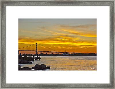 Ship Approaches Ambassador Bridge At Sunset Framed Print