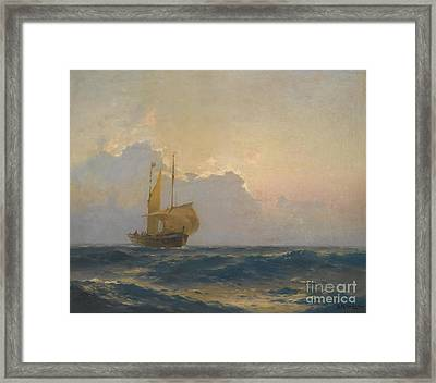 Ship At Dusk Framed Print by Celestial Images