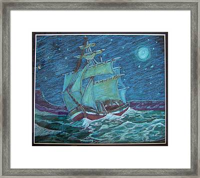 Framed Print featuring the drawing Ship At Sea by Joseph Hawkins