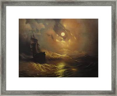 Ship At Sea Framed Print by Rembrandt