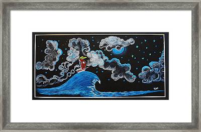 Ship Big Wave Framed Print by Joseph Hawkins