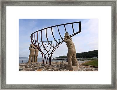 Ship Builders Sculpture Port Jefferson New York Framed Print by Bob Savage
