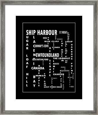 Ship Harbour Newfoundland Landmarks Crossword Art Framed Print