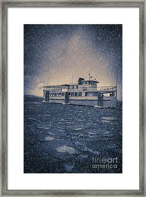 Ship In A Snowstorm Framed Print