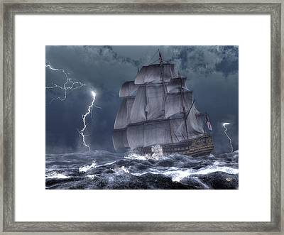 Ship In A Storm Framed Print