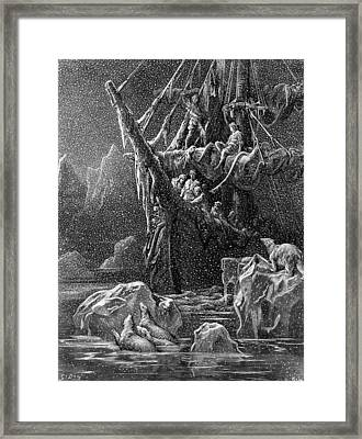 Ship In Antartica Framed Print by Gustave Dore