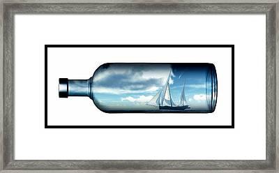 Framed Print featuring the digital art Ship In Bottle... by Tim Fillingim