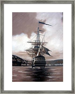 Framed Print featuring the painting Ship In Sepia by Janet King