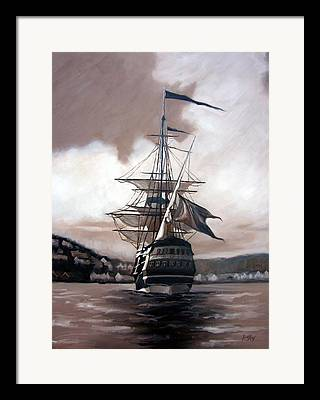 Ship Sailing Into Farsund Norway Paintings Framed Prints