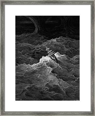 Ship In Stormy Sea Framed Print by Gustave Dore