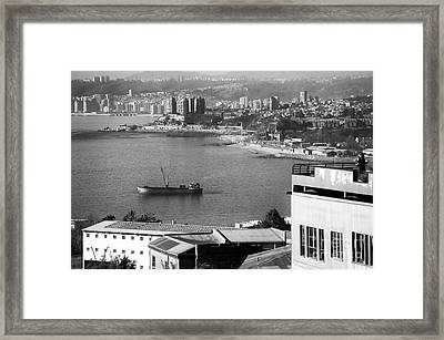 Ship In The Harbor At Valparaiso Framed Print