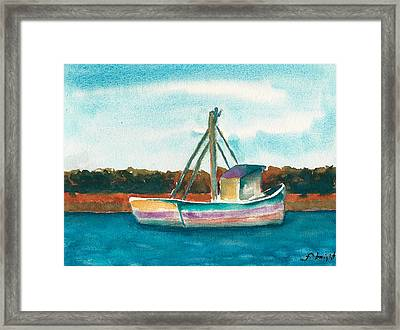 Ship In The Marsh Framed Print by Frank Bright