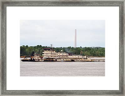 Ship In The Mississippi River Framed Print by Kim Stafford