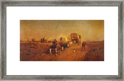 Ship Of The Plains Covered Wagons Framed Print by Samuel Colman