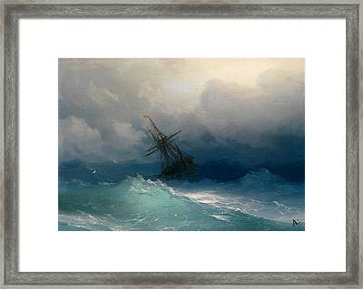 Ship On Stormy Seas Framed Print