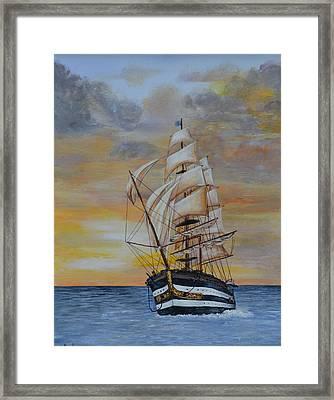 Ship On The High Seas Framed Print