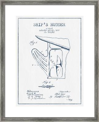 Ship Rudder Patent Drawing From 1887  -  Blue Ink Framed Print