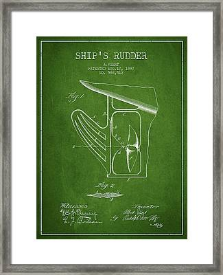 Ship Rudder Patent Drawing From 1887 - Green Framed Print