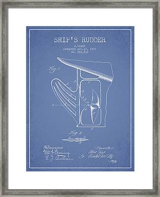 Ship Rudder Patent Drawing From 1887 - Light Blue Framed Print