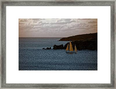 Ship Sailing At Dawn Framed Print