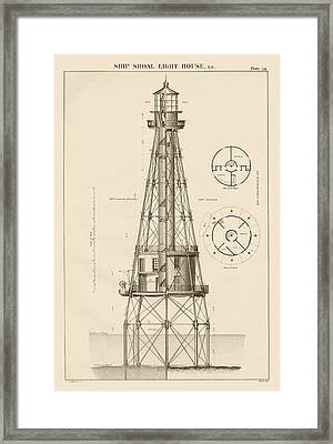 Ship Shoal Lighthouse Drawing Framed Print by Jerry McElroy - Public Domain Image