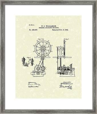 Ship Steering 1892 Patent  Framed Print by Prior Art Design