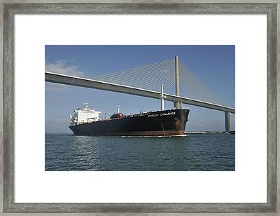 Ship Under Sunshine Skyway Bridge Framed Print