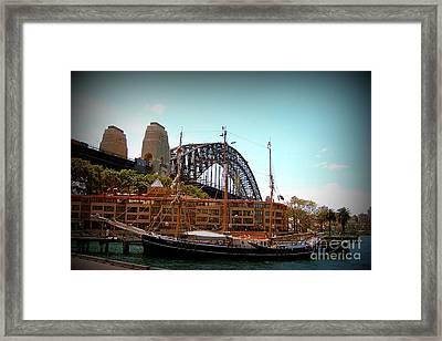 Ship Under Sydney Bridge Framed Print by John Potts