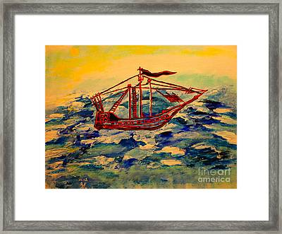 Framed Print featuring the painting Ship.abstract. by Viktor Lazarev