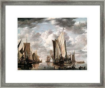 Shipping In A Calm At Flushing Wiht A States General Yacht Firing A Salute Framed Print by Jan van de Cappelle