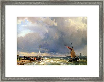 Shipping In A Stiff Breeze Framed Print by Hermanus Koekkoek