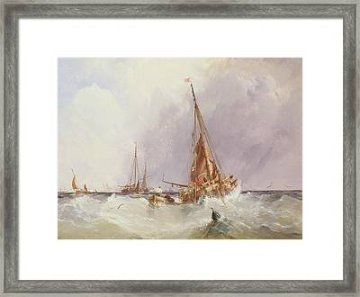 Shipping In The Solent 19th Century Framed Print by George the Elder Chambers