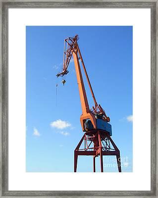 Shipping Industry Crane Framed Print by Antony McAulay
