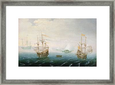 Shipping On Stormy Seas Framed Print by Aert van Antum