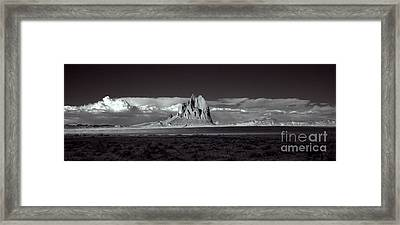 Shiprock Evening Panorama Framed Print by Erik Poppke