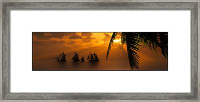 Ships And The Golden Dawn... Framed Print