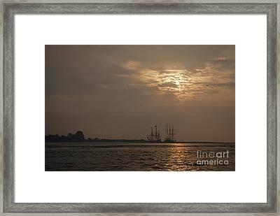 Ships At Dawn Framed Print