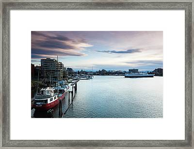 Ships At Inner Harbor, Victoria Framed Print
