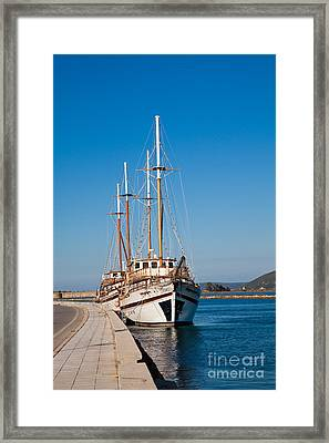 Ships At Lefkada Framed Print by Gabriela Insuratelu