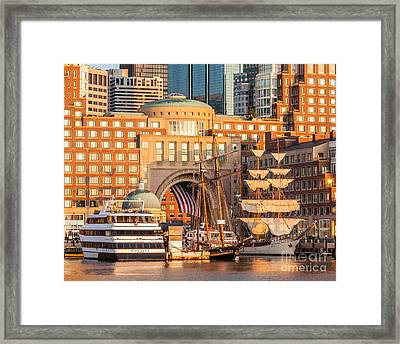 Ships At Rowes Wharf Framed Print by Susan Cole Kelly