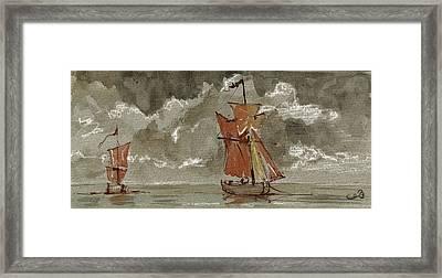 Ships At Sea Framed Print by Juan  Bosco
