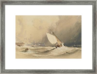 Ships At Sea Off Folkestone Harbour Storm Approaching Framed Print by Anthony Vandyke Copley Fielding