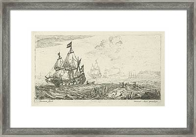 Ships Before Coast, Print Maker Anonymous Framed Print